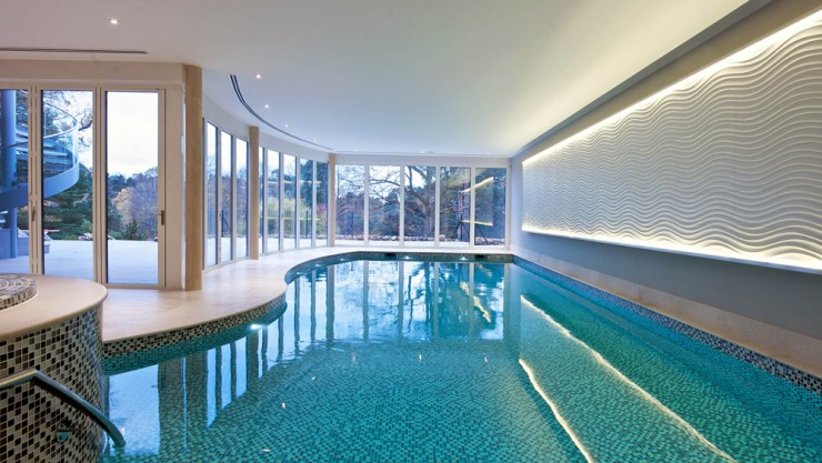 Indoor pool with feature wall