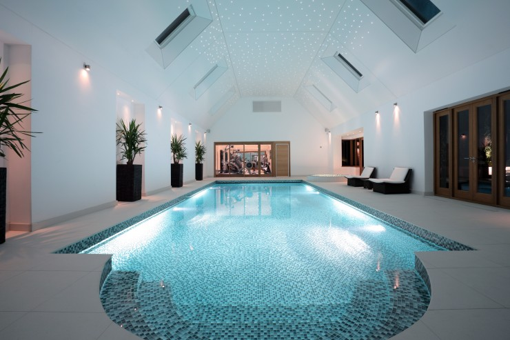 Indoor pool with lighting