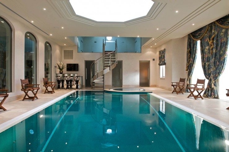 Indoor pool with spiral stairs