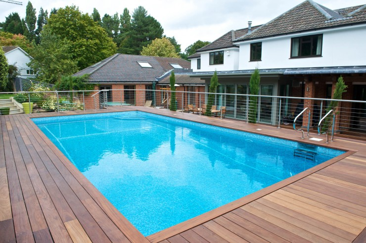 Outdoor pool raised with decking