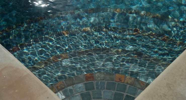 Pool with tiled steps