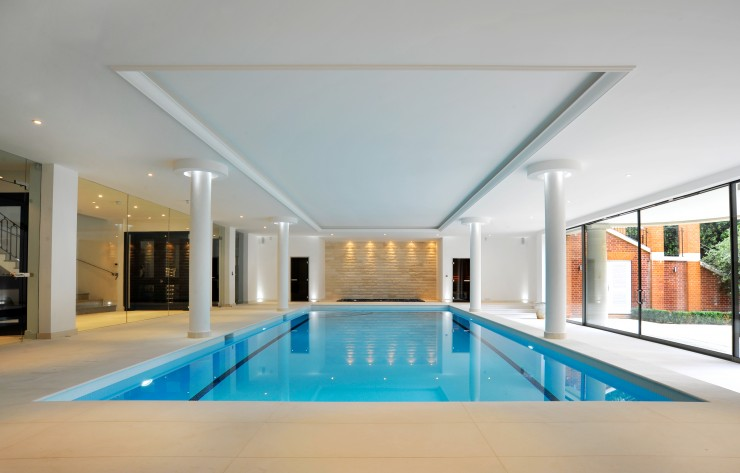 Indoor pool with golden wall