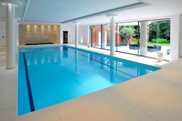 Indoor pool with patio