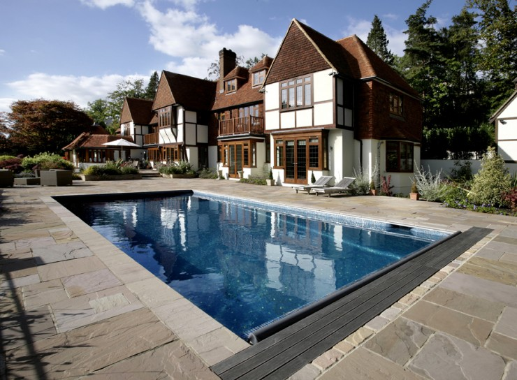 Outdoor pool with cover