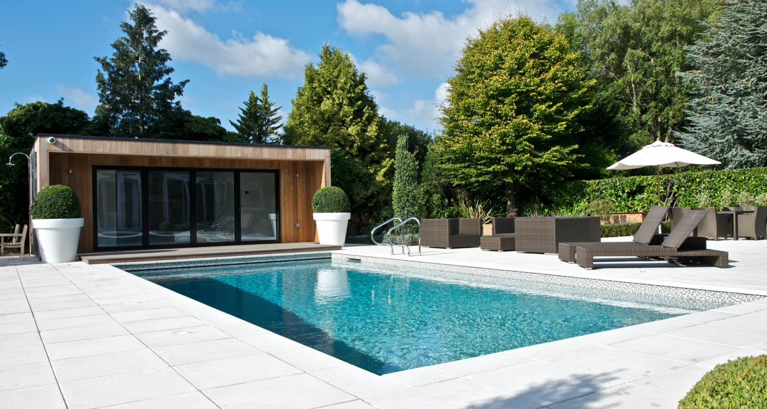 Outdoor swimming pool construction design falcon pools for Pool room design uk