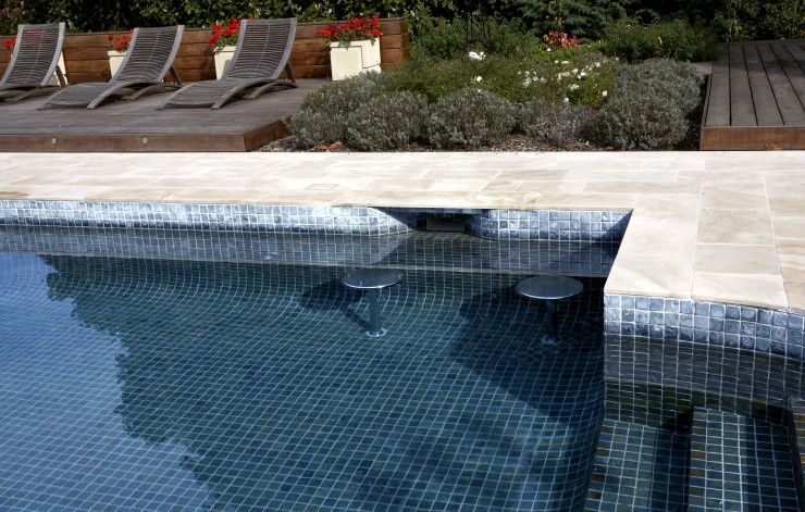 outdoor pool with seats