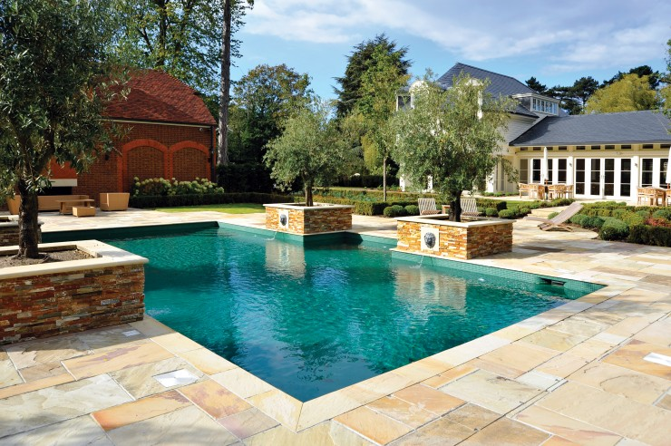 outdoor pool with lion water feature
