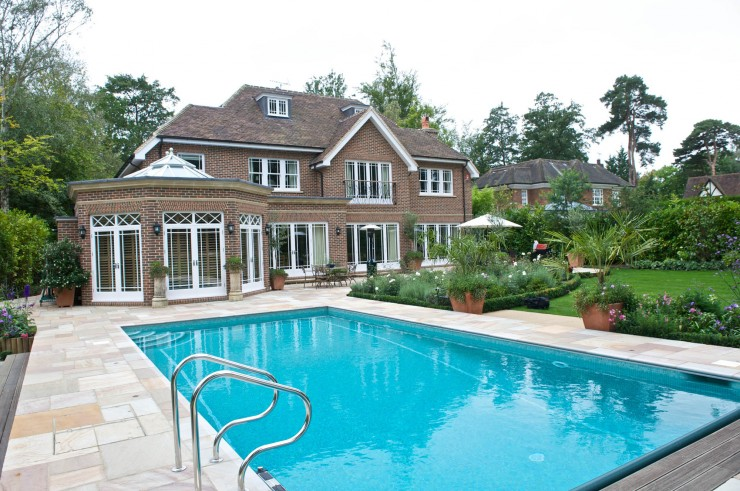 Outdoor pool and house