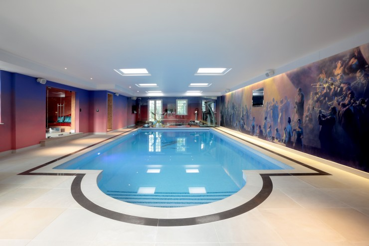 indoor pool with mural