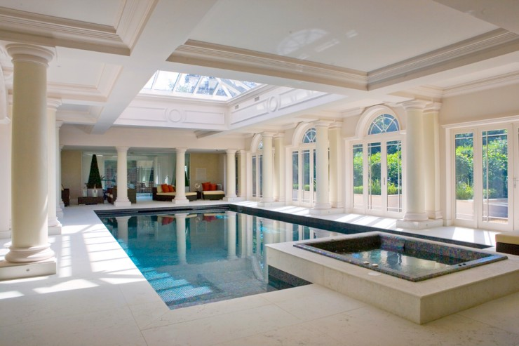 Indoor pool with square spa