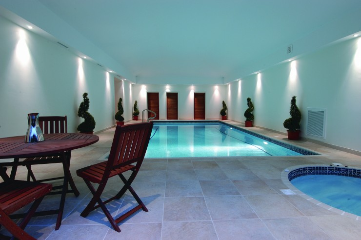 indoor pool with spa detached