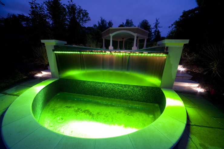 Water feature with green lighting