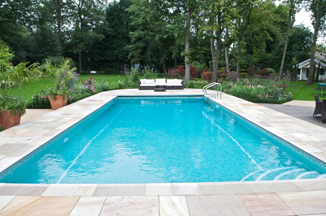 outdoor pool with curved steps
