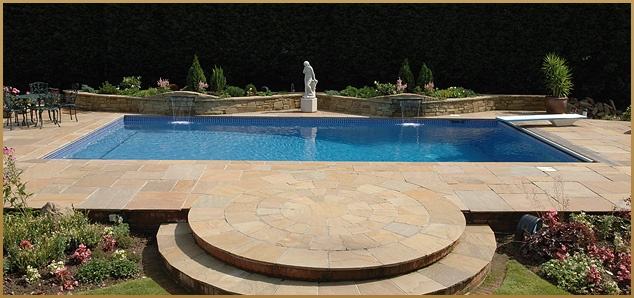 Outdoor pool with diving board