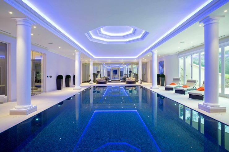 Falcon Pools Indoor Pool with impressive pillars