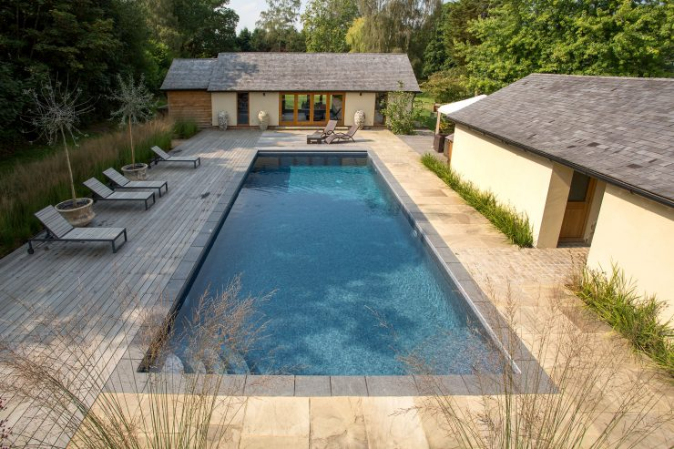 Falcon Pools Outdoor Pool Image with Pool House