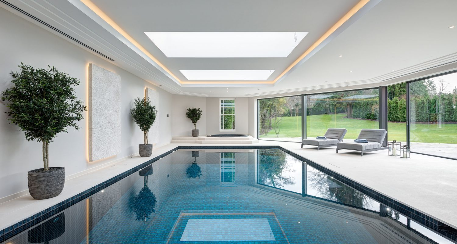 Swimming pool construction design falcon pools surrey - Houses in england with swimming pools ...